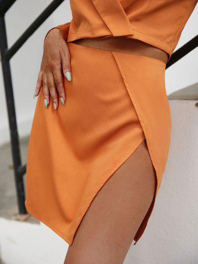 Overlap Front Slit Mini Skirt - Orange M