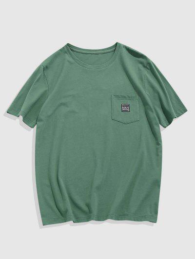 ZAFUL Short Sleeve Pocket Patched T-shirt - Light Green S