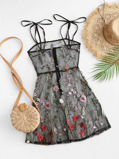 Tie Shoulder Floral Embroidered Sheer Mesh Dress - Black S