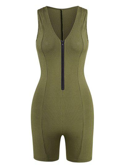 Rib-knit Half Zip Unitard Romper - Green M