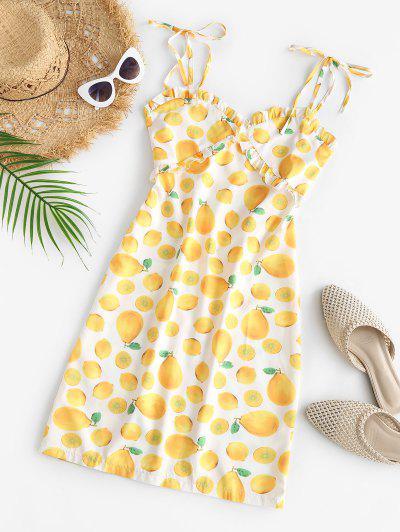 Tie Strap Lemon Print Frilled Cami Dress - Yellow L