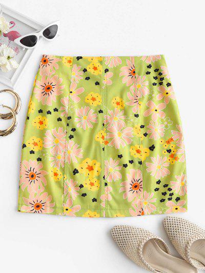 High Waisted Flower Print Skirt - Light Green S