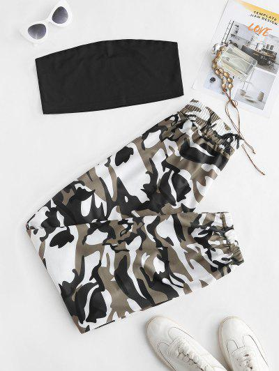 Tube Top And Camouflage Two Piece Pants Set - Black S
