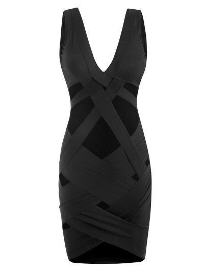 Criss Cross Cut Out Plunge Slinky Mini Dress - Black S