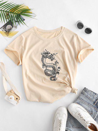 T-shirt Dragon Imprimé Chinoiserie - Café Lumière S