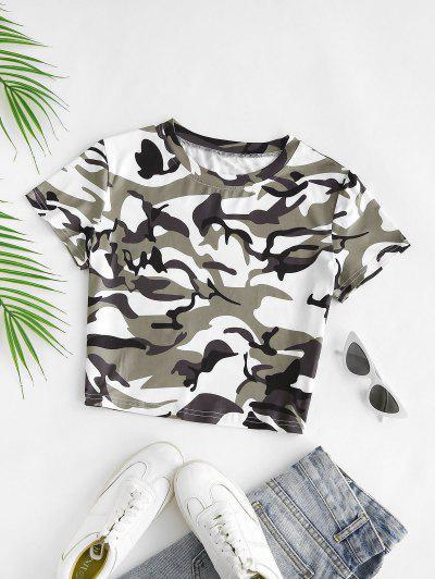 Tarnung Crop T-Shirt - Grün Xs