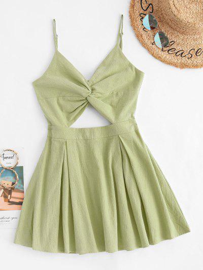 Twisted Cutout Bowknot Back Dress - Light Green S
