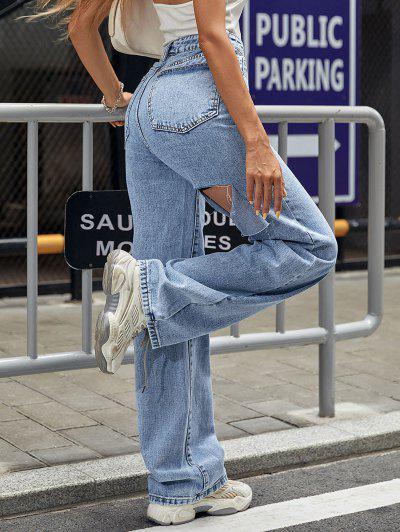 High Waisted Frayed Cutout Baggy Jeans - Blue Xs