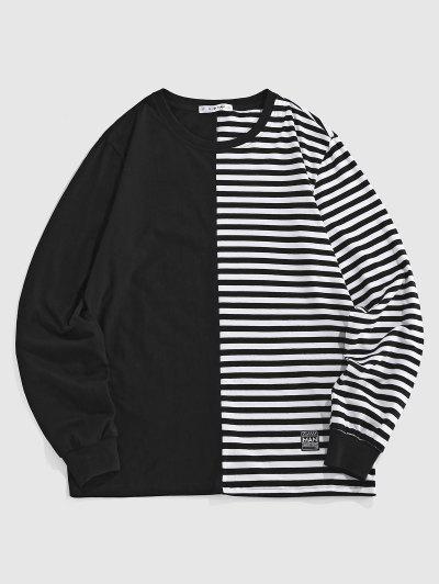 ZAFUL Halber T-Shirt Mit Streifenmuster - Schwarz L