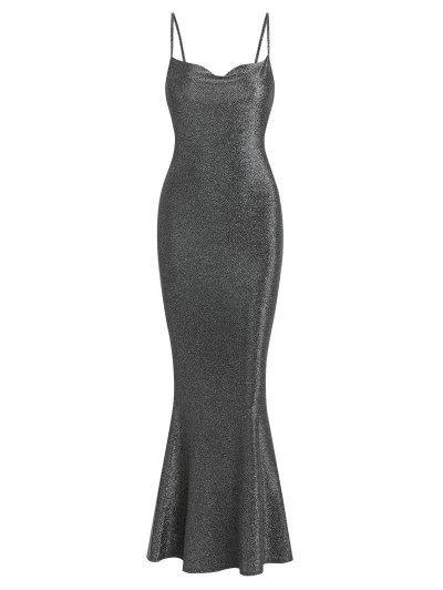 ZAFUL Metallic Glittery Cowl Front Mermaid Dress - Dark Gray M