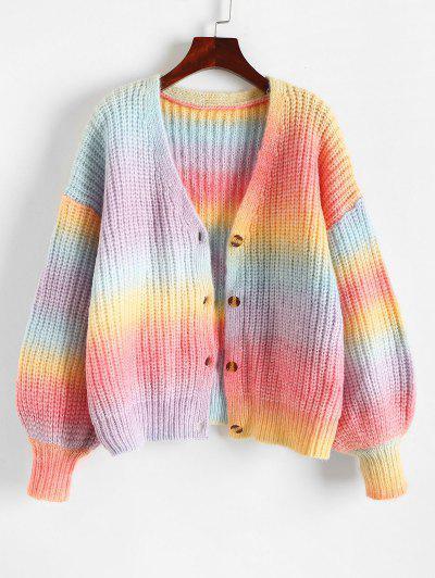 Chunky Knit Rainbow Drop Shoulder Cardigan - Multi M