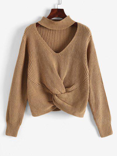 Chunky Knit Twisted Choker Sweater - Coffee M