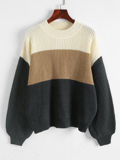 Colorblock Chunky Knit Drop Shoulder Sweater - Multi M