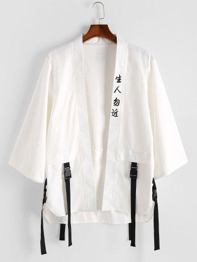 Hanzi Print Buckle Strap Kimono Cardigan - White M