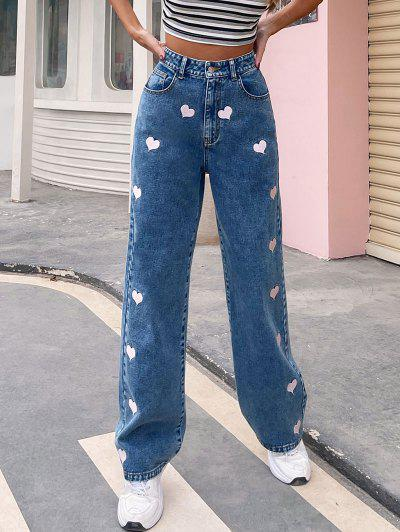 High Waisted Heart Embroidered Valentine Baggy Jeans - Blue M