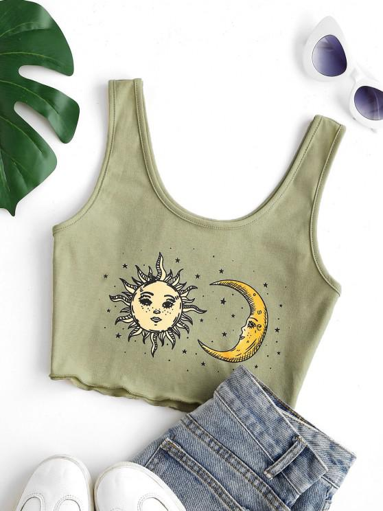 hot Cropped Sun Star and Moon Tank Top - GREEN S
