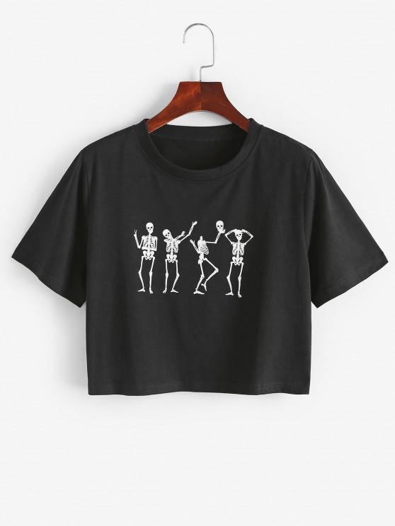 Lustiges Halloween Tanzen Skelett Grafik T-Shirt - Schwarz L