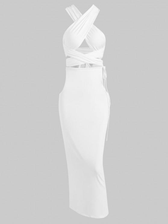 womens Cut Out Crisscross Archie Top and Bulit-in G-string Skirt Set - WHITE M