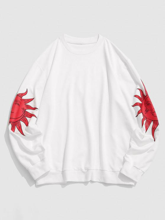Celestial Sun Moon Print Basic Sweatshirt - أبيض 2XL