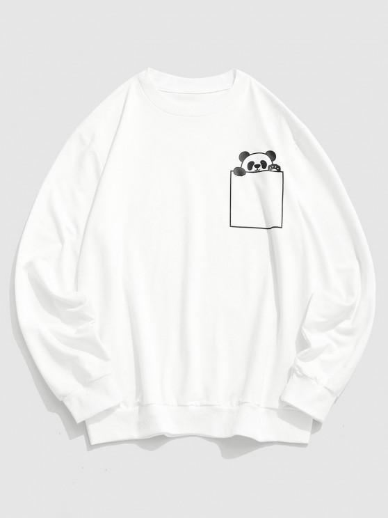 Cartoon Panda Print Cute Sweatshirt - أبيض S