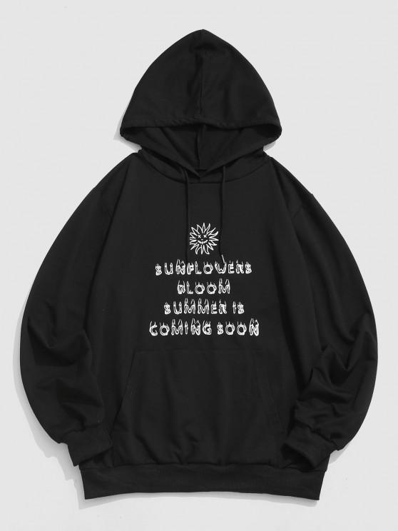 Sunflower Face Letters Graphic Hoodie - أسود S