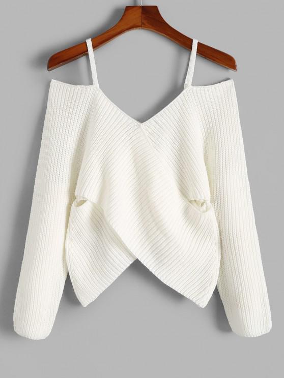 Schulterfrei Ausschnitt Crossover Pullover - Weiß S