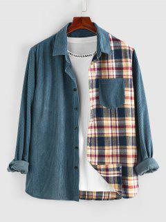 ZAFUL Plaid Panel Button Up Corduroy Shirt - Blue Xl