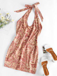 ZAFUL Halter Psychedelic Print Backless Mini Dress - Coffee L
