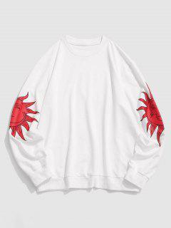 Celestial Sun Moon Print Basic Sweatshirt - White Xl
