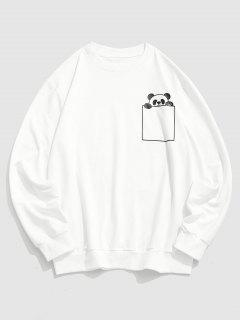 Cartoon Panda Print Cute Sweatshirt - White Xl