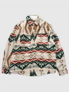 ZAFUL Tribal Print Double Pockets Wool Blend Shacket - Multi L