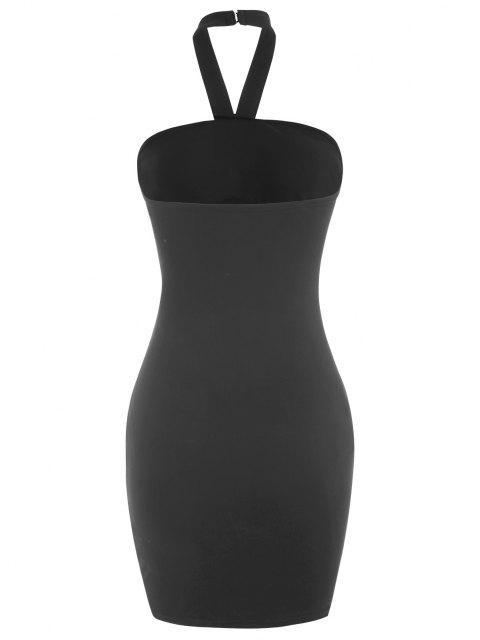Halfter Kreuzes und Queres Bodycon Kleid mit Ausschnitt - Schwarz L Mobile