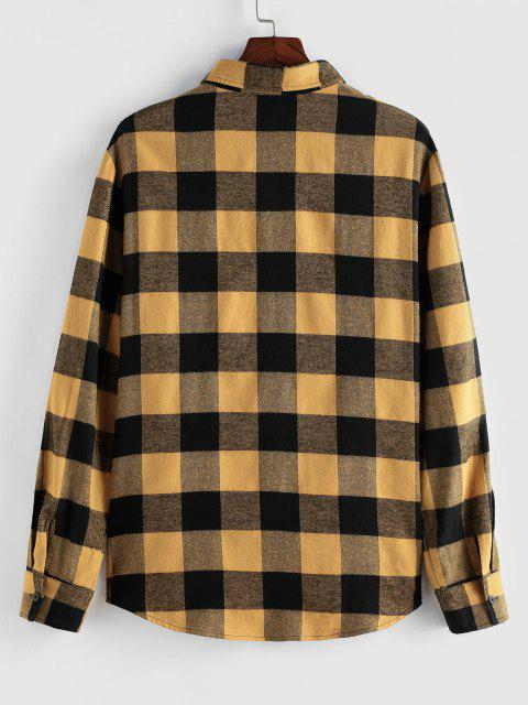 ZAFUL Plaid Pattern Pocket Patch Long Sleeve Shirt - اصفر غامق S Mobile