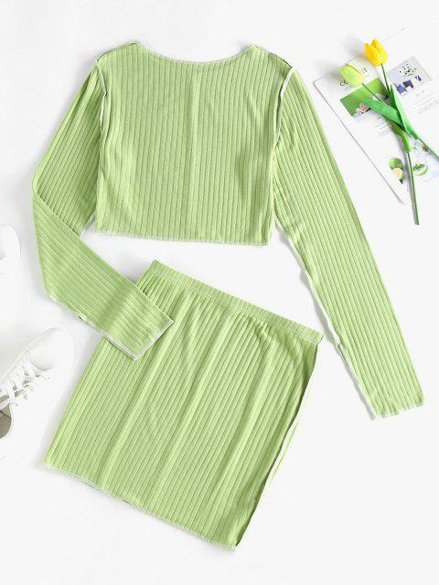 hot ZAFUL Ribbed Overlock Stitching Split Sleeve Top and Skirt Set - LIGHT GREEN S Mobile