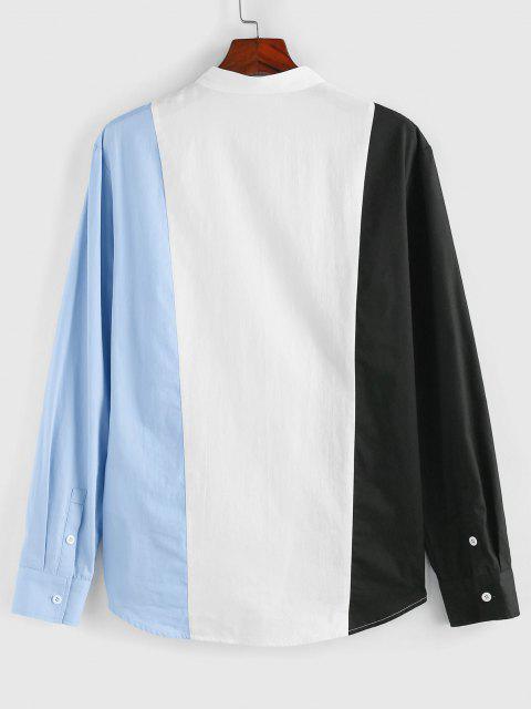 women ZAFUL Colorblock Long Sleeve Shirt - MULTI XL Mobile