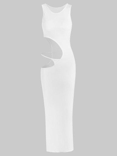 Cutout Slinky Bodycon Thong Detail Maxi Sleeveless Dress - White M