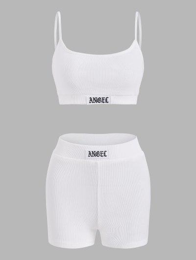 Rib-knit Patch Two Piece Shorts Set - White S