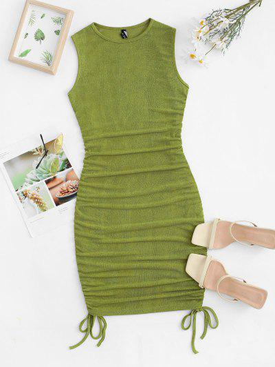 Cinched Ruched Jersey Tank Dress - Light Green S