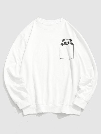 Cartoon Panda Print Cute Sweatshirt - White S