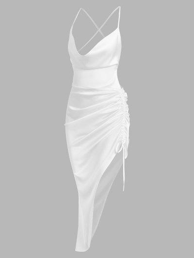 Asymmetrisches Ärmelloses Kleid Aus Satin - Weiß M