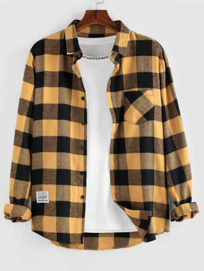 ZAFUL Plaid Pattern Pocket Patch Long Sleeve Shirt - Deep Yellow M