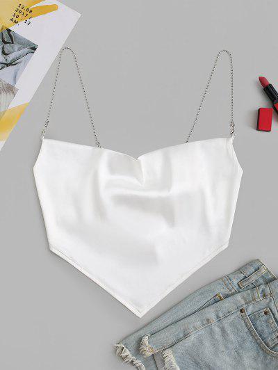 Chain Straps Satin Napkin Cami Top - White S