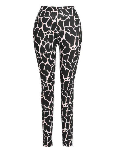 ZAFUL High Waisted Abstract Printed Sports Pants - Black L