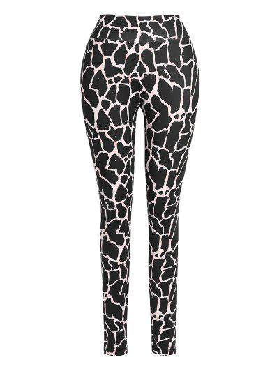 ZAFUL High Waisted Abstract Printed Sports Pants - Black M