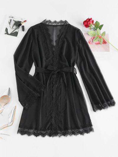 ZAFUL Lace Eyelash Belted Wrap Robe Dress - Black L
