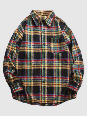 zaful ZAFUL Plaid Print Flannel Pocket Shirt