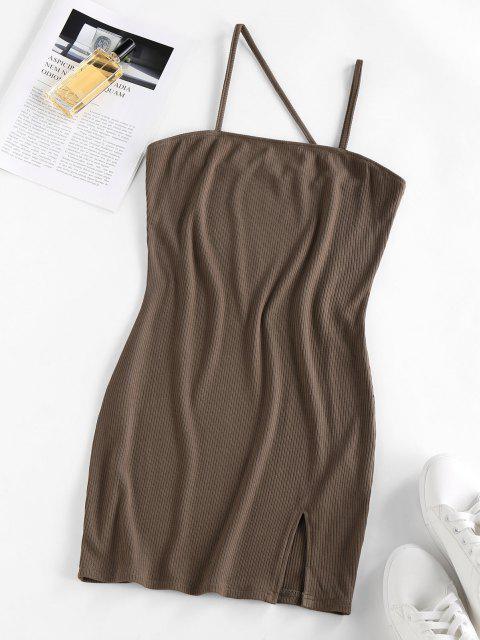 ZAFUL Bodycon Kleid mit Geripptem Schlitz - Kaffee M Mobile