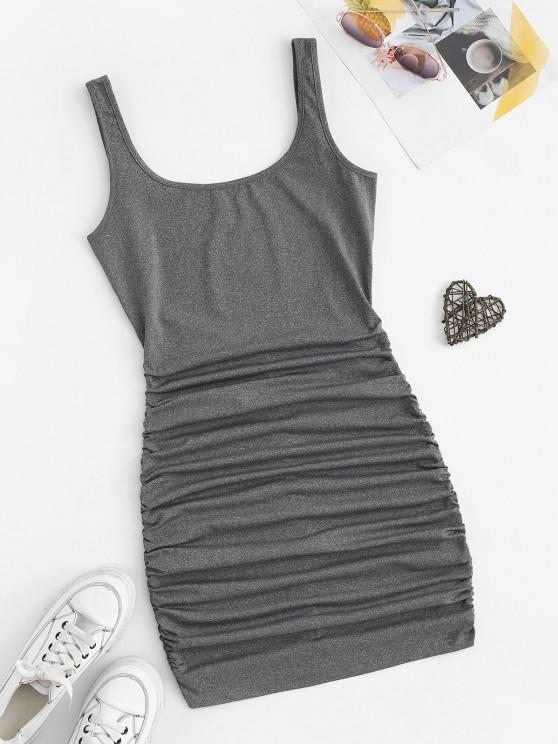 shops Ruched Low Back Bodycon Tank Dress - LIGHT GRAY M