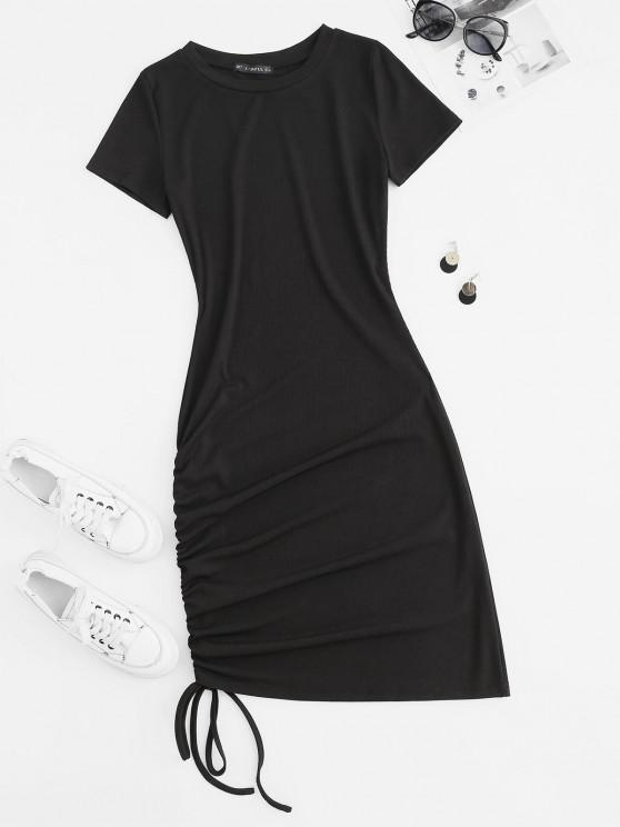lady Ribbed Cinched Tie Bodycon Tee Dress - BLACK M