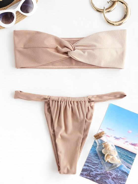 women ZAFUL Ribbed Colorblock Twisted Bandeau Loincloth Bikini Swimwear - LIGHT COFFEE S